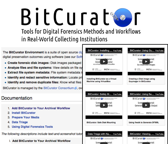Screenshot of BitCurator logo and wiki