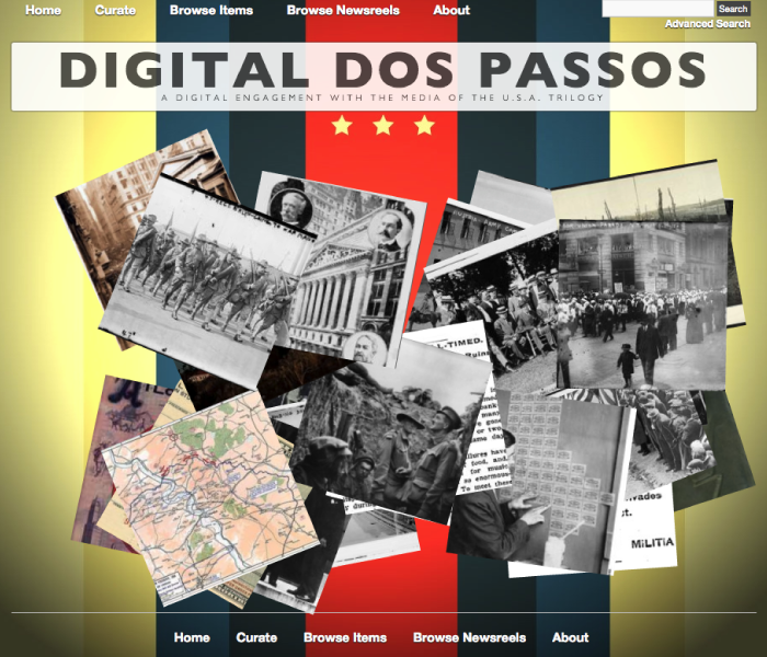 Screenshot of non-linear entry into online archive at DigitalDosPassos.com
